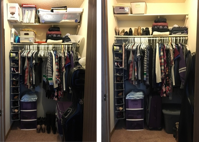 Closet organization before (left) and after (right)