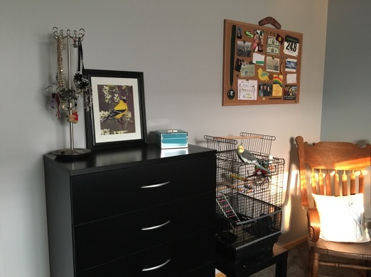 organized bulletin board and dresser