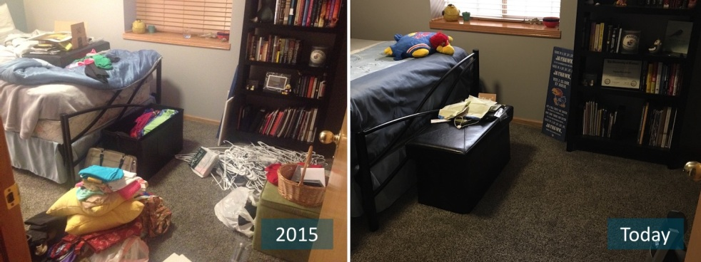 Declutter burst of intention for Minimalism before and after